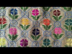Cross stitch door mat design    Easy and very colorful design - YouTube Cross Stitch Designs, Cross Stitch Patterns, Knitting Patterns, Palestinian Embroidery, Crafts To Do, Beautiful Patterns, Easter Crafts, Cross Stitch Embroidery, Needlework