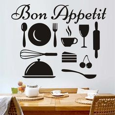 Bon Appetit French Vinyl Wall Decal,Kitchenware Art, Kitchen Wall Sticker Art, Removable Diy Wall Cling Murals Home Decor Hall Wallpaper, Kitchen Wallpaper, Wall Stickers Room, Kitchen Wall Stickers, Removable Wall Decals, Vinyl Wall Decals, Bon Appetit, Wall Clings, Pvc Wall