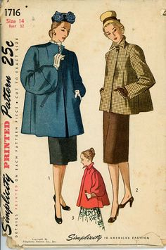 1940s Swing Coat Vintage Simplicity Sewing Pattern #1716