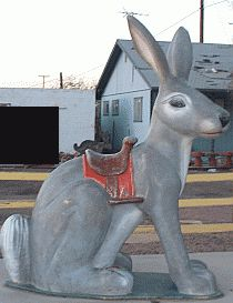 Jackrabbit Statue at sunset; Jackrabbit Trading Post near Joseph, Arizona on Interstate 40 (Route 66)