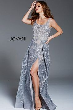 Grey Scoop Neckline High Slit Formal Gown 58911  EmbroideredDress  Jovani   PromDress  Prom2018 7f151336f