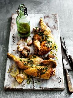 Roast Chicken, the textures and the green bottle are all nice wee added touches to the image to make it appear more interesting to look at