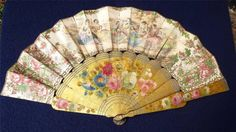 Antique Regency / Victorian Fan Hand Painted Lithograph Lacquer Guards