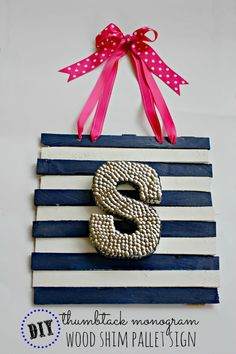 Thumbtack Monogram Pallet Art by View From The Fridge  ~ shared at Brag About It Link Party on VMG206 (Monday's at Midnight). #bragaboutit