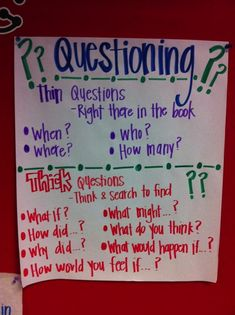 """A Literate Life - Anchor Charts. I love this for Hazelle. The """"thick"""" questions are perfect to get her to focus more on what she reads and get her more into reading!"""