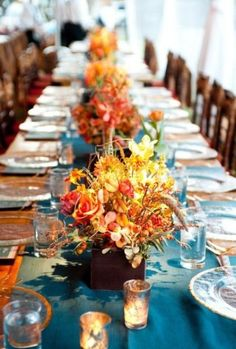 71 Amazing Fall Table Settings For Special Occasions And Not Only : Cool Fall Table Settings With Wooden Dining Table Blue Pate Candlesticks Plate Spoon Glass Fall Flower And Pumpkin Ornaments