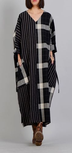 0e935e79808d top quality black Plaid casual v neck patchwork gown top quality pockets  Batwing Sleeve long dresses