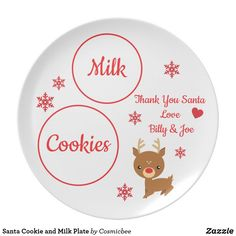 Shop Santa Cookie and Milk Plate created by Cosmicbee. Personalize it with photos & text or purchase as is!