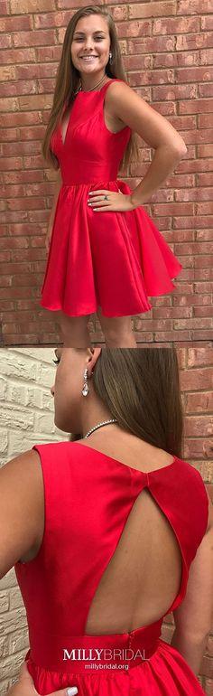 Red Homecoming Dresses Short Prom Dresses Open Back, A-line Graduation Party Dresses Elegant, Satin Cocktail Dresses V-neck Vintage Homecoming Dresses, Short Red Prom Dresses, Modest Formal Dresses, Vintage Formal Dresses, Dresses For Teens, Prom Gowns, Short Prom, Party Dresses, Evening Dresses