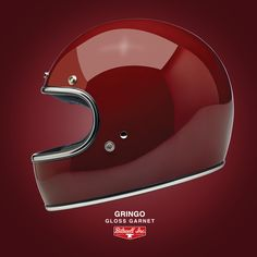 Gringo Gloss Garnet: With a look born in the and technology from the century, Biltwell Gringo Helmets channel the spirit of the golden age of motor racing. Neither vintage no retro, it looks as good today as it did ago. Now ECE and DOT. Full Face Motorcycle Helmets, Full Face Helmets, Biltwell Helmet, Cafe Racer Helmet, 50 Years Ago, Headgear, Custom Paint, Golden Age, 21st Century