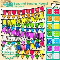 Need some beautiful bunting banner clipart to decorate your TPT seller products or classroom materials? These clip art images are perfect for holiday products like Christmas, St. Patty's Day, Valentine's Day, etc.Beautiful Bunting Clip Art [NEONS] includes pennant banners in color (red, orange, yellow, green, blue, violet, gray and warm, cool, primary, and secondary colors) in three different styles (flag, triangle, and semi-circle) as well as a blackline version of each style.