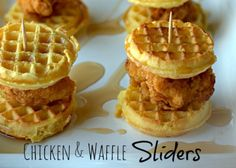 Chicken Waffle Sliders. (Cheated....bought better frozen Belgin waffles and bought Chick fil A nuggets and made a delicious pecan honey syrup!