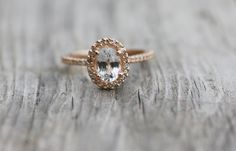 Oval white sapphire diamond ring 14k rose gold