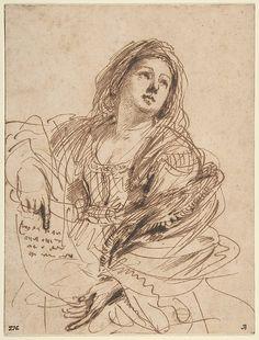 Guercino, Italian, 1638, A Sibyl Holding a Scroll