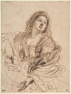 A Sibyl Holding a Scroll - Guercino (Giovanni Francesco Barbieri)