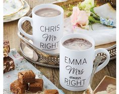 personalised names MR RIGHT + MRS ALWAYS RIGHT ceramic drinking tea mug gift set