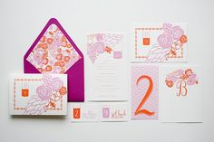 Can't get enough of her. Pink and orange floral wedding invitations.