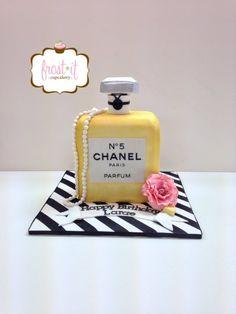 Chanel Perfume cake Custom Cake Birthday cake Fondant Cake Carved Cake by Frost It Cupcakery