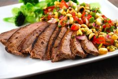 Charred Corn Salsa with Grilled Steak | the best post-workout foods