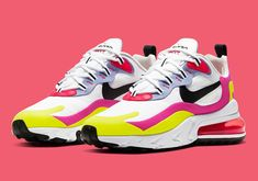 Following up a recent greyscale outfit, the Nike Air Max 270 React has emerged in an animated yellow, pink and red arrangement for women. White sets the stage for the tropical accents throughout the forefoot, midfoot and heel. By contrast, the upcoming Travis Scott 270 relies heavily on a drab brown and beige palette. Tongue areas on both Air Max 270-variants, however, feature red flair, though the scarlet tone also appears on the heel Airbag on this option for women.#nikeairmax270react Air Max 270, Pink Shoes, Nike Air Vapormax, Jordan 4, Shoes Online, Casual Shoes, Sneakers Nike, Travis Scott, Pink Black