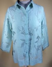 J H Collectibles Womens Medium Blue Green Blouse Sheer Floral Button Down | eBay
