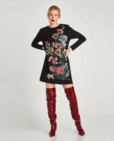 Imagine 1 din ROCHIE CU IMPRIMEU CAUCIUCAT de pe Zara