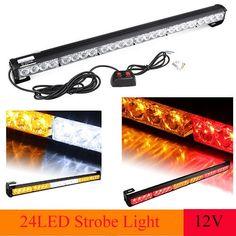 """RED//WHITE Emergency Light Bar 27/"""" Strobe Light Kit Trun Singal Traffic Advisor"""