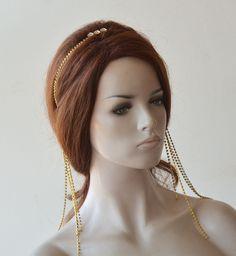 Jeweled Headband, Rhinestone Headband, Wedding Headband, Crystal Headband, Bridal Crown, Bridal Sash, Crystal Rhinestone, Or Noir, Gold Bridesmaids