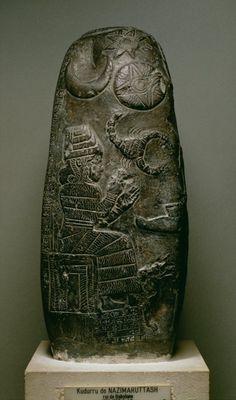 Kudurru of Nazimaruttash, Kassite King of Babylon, showing Gula the Goddess of Healing (calcite), Mesopotamian-Iraq, (13th century BC) - Private Collection.