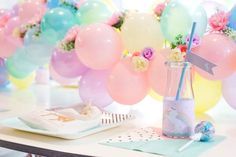 Searching for girly party ideas? Kara's Party Ideas presents a Floral Rainbow Glam Unicorn Birthday Party filled with gorgeous ideas! Unicorn Birthday Parties, First Birthday Parties, Birthday Party Themes, Girl Birthday, First Birthdays, Birthday Ideas, Pony Party, Ballons Pastel, Unicornio Birthday