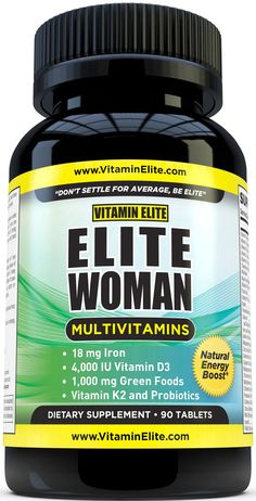 Elite Woman Multivitamins - Advanced Vitamins and Minerals with Iron, Micronutrients, Vitamin K2, Vitamin D3, Green Superfoods, Probiotics for Energy, Heart & Breast Health. 90 Tablets ESPECIALLY FOR