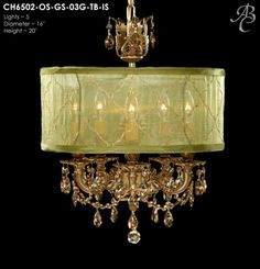 """ABC CH6502-OSGS-03G-TB-IS Llydia Collection Chandeliers Lites: 5 Diameter: 16"""" Body Length: 20"""" Finish: 03G ~ French Gold Glossy Crystal Package: Swarovski ELEMENTS Oval in Golden Shadow"""
