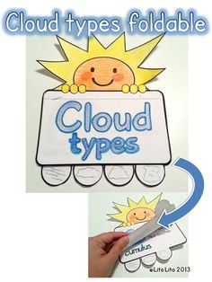 Cloud types foldable for the interactive notebook Kindergarten Science, Elementary Science, Science Classroom, Teaching Science, Science Education, Science For Kids, Science Activities, Science Projects, Science Fun