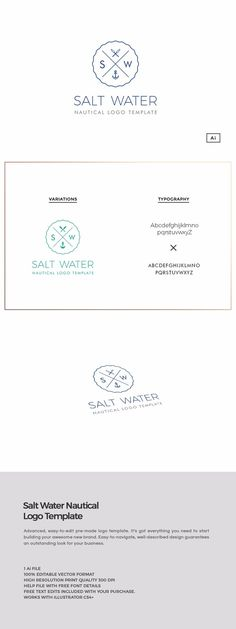 Salt Water Nautical Logo Template by The Design Label on @creativemarket