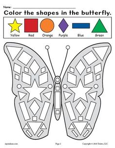 FREE Printable Preschool Butterfly Shapes Worksheet! Practice shape recognition, fine motor skills, and more with this fun butterfly themed shape worksheet. It's a perfect addition to your spring preschool lesson plans. Get the free shapes coloring worksheet here --> https://www.mpmschoolsupplies.com/ideas/7944/free-printable-butterfly-shapes-coloring-pages/