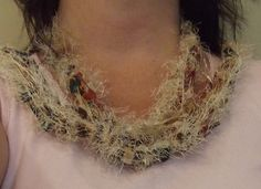 FRINGE SCARFtan brown  green Ribbon scarf by Deannaroserichardson, $12.00