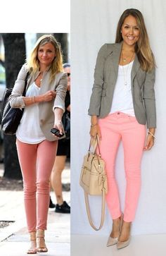 Spring business casual. Pink skinny jeans, white tank top, grey blazer, long hair style. What to wear for spring, internships, fridays. #ad #ootd #businesscasual #pinkjeand #longhair #camerondiaz