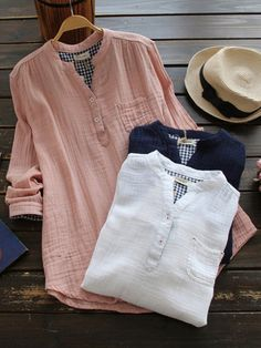 Casual Solid Color Stand Collar Long Sleeve Women Blouses