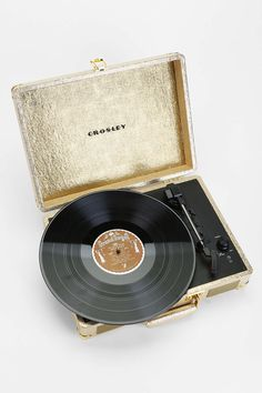 Gold Portable Vinyl Record Player