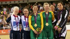 Silver medalists Aileen McGlynn and Helen Scott of Great Britain, gold medallists Felicity Johnson and Stephanie Morton of Australia and bronze medallists Laura Thompson and Philipa Gray of New Zealand pose on the podium during the medal ceremony for the women's Individual B 1km Cycling Time Trial final on Day 2 of the London 2012 Paralympic Games at the Velodrome.