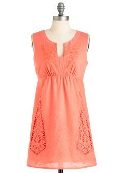 Vine Dining Dress - Short, Orange, Solid, Lace, Sleeveless, Casual, Cutout, Embroidery, Empire, Mini