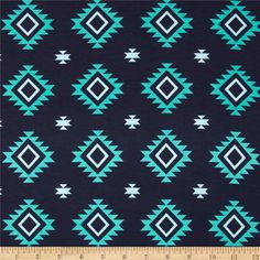 Riley Blake Aztec Knit Teal from @fabricdotcom  From Riley Blake Fabrics, this lightweight stretch cotton jersey knit fabric features a smooth hand and about a 50% four way stretch for added comfort and ease. It is perfect for making for fitting t-shirts, loungewear, leggings and baby/children's apparel.