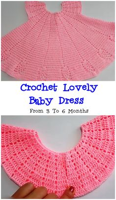 Crochet Lovely Baby Dress From 3 To 6 Months We Love Crochet Baby Dress Patterns Baby Crochet Dress Love Lovely Months Crochet Girls Dress Pattern, Baby Dress Patterns, Baby Clothes Patterns, Baby Girl Crochet, Crochet Baby Clothes, Crochet For Kids, Crochet Dresses, Crochet Patterns, Baby Dress Tutorials