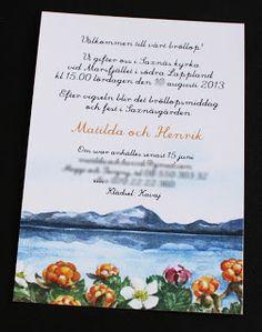 Inbjudningskort, bröllopsinbjudan. Norrland, en specialbeställd illustration #hjortron #illustration #norrland. Pappersboden Anna Göran Design