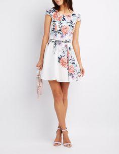 Floral Belted Skater Dress | Charlotte Russe