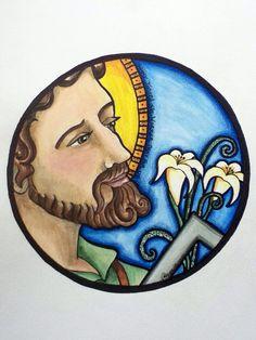 St Joseph Catholic, Catholic Art, Catholic Saints, Religious Art, St Joseph Feast Day, Slate Art, Jesus Loves Us, Catholic Pictures, Mosaic Art Projects