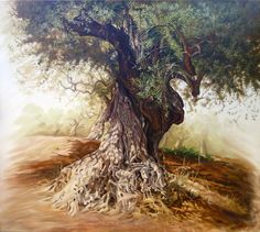 Olive Tree, Classic Painting on Canvas, Original Oil Landscape, Handmade Painting Fine art,  Realism, original artwork, nature by OliviaArtGallery on Etsy