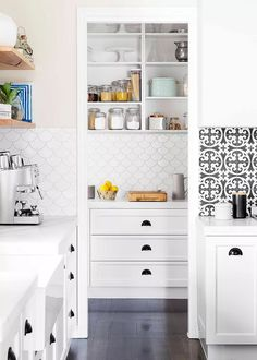 White Kitchen with White Fish Scale Tile Backsplash - Transitional - Kitchen Küchen Design, Tile Design, Backsplash Design, Kitchen Backsplash, Kitchen Cabinets, Design Ideas, Interior Design, Fish Scale Tile, Shaker Style Kitchens