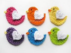 Crochet Bird Applique with Heart Wing by Patricia Eggen