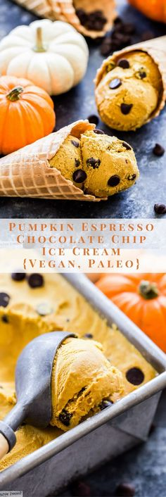 This Pumpkin Espresso Chocolate Chip Ice Cream tastes just like a piece of frozen pumpkin pie with a coffee kick! You'd never guess that it was vegan, paleo and made with real ingredients!